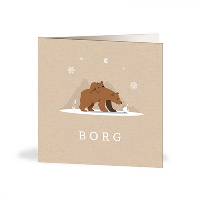 Geboortekaartje beren in winter