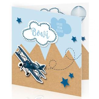 Geboortekaartje Bergen en vliegtuigje