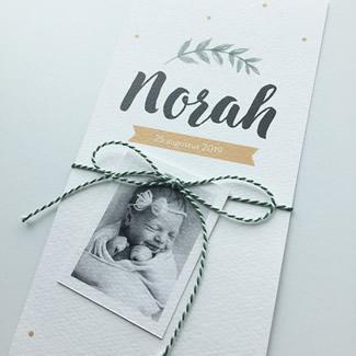 Geboortekaartje Blaadje met label