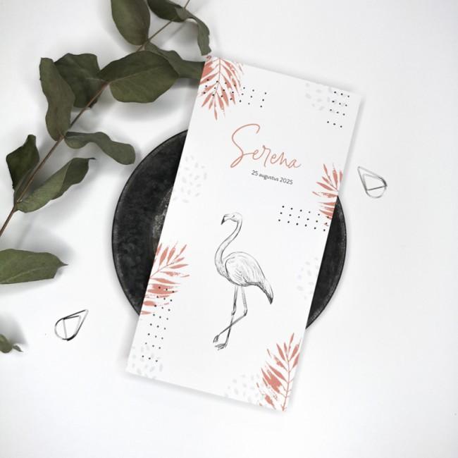 Geboortekaartje Bladeren met flamingo
