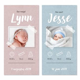 Geboortekaartje Blauw kraft met foto