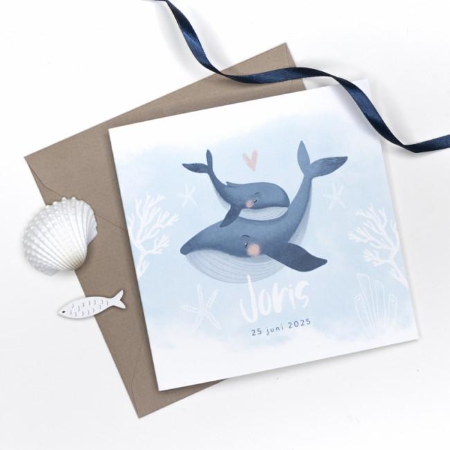 Geboortekaartje Blauw met baby walvis