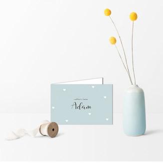 Geboortekaartje Blauw met hartjes