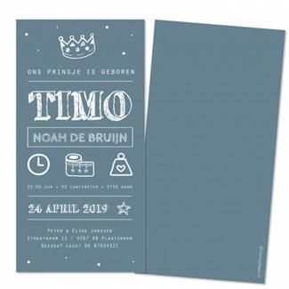 Geboortekaartje Blauw met witte typografie