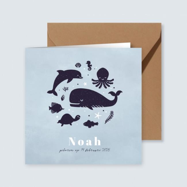 Geboortekaartje Blauw met zeedieren