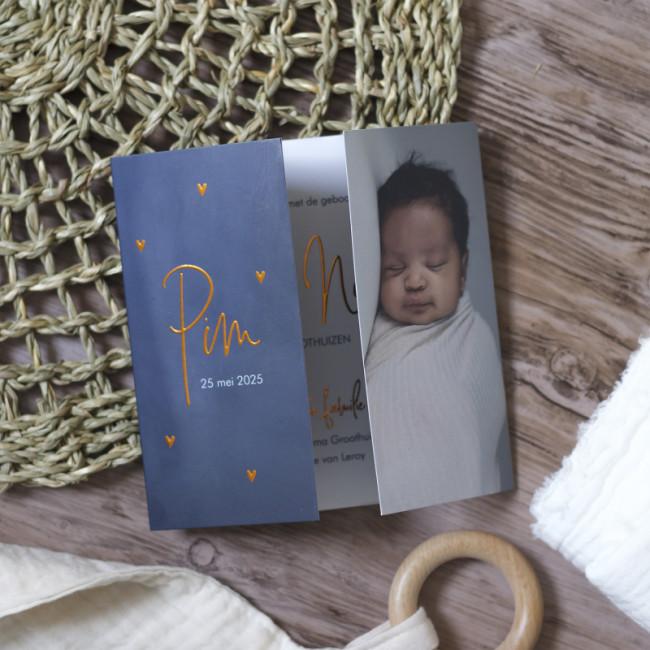 Geboortekaartje Blauw tweeluik koperfolie
