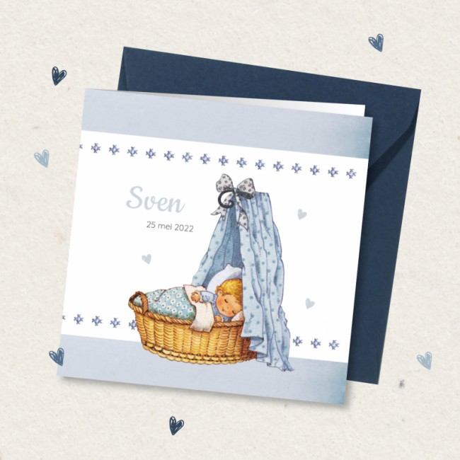Geboortekaartje Blauw wiegje en borduursel