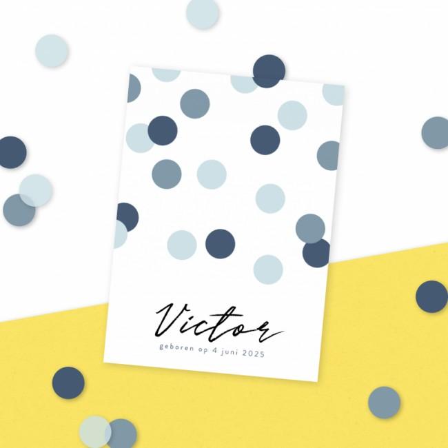 Geboortekaartje Blauwe confetti
