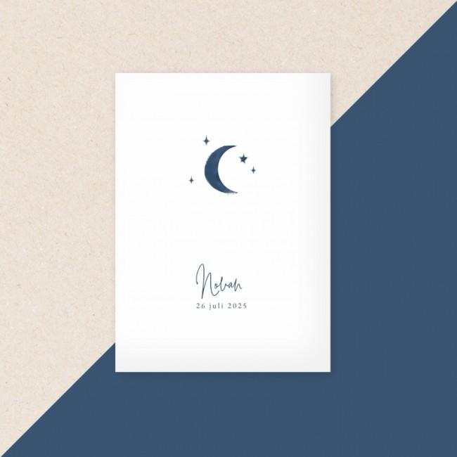 Geboortekaartje Blauwe maan en sterren