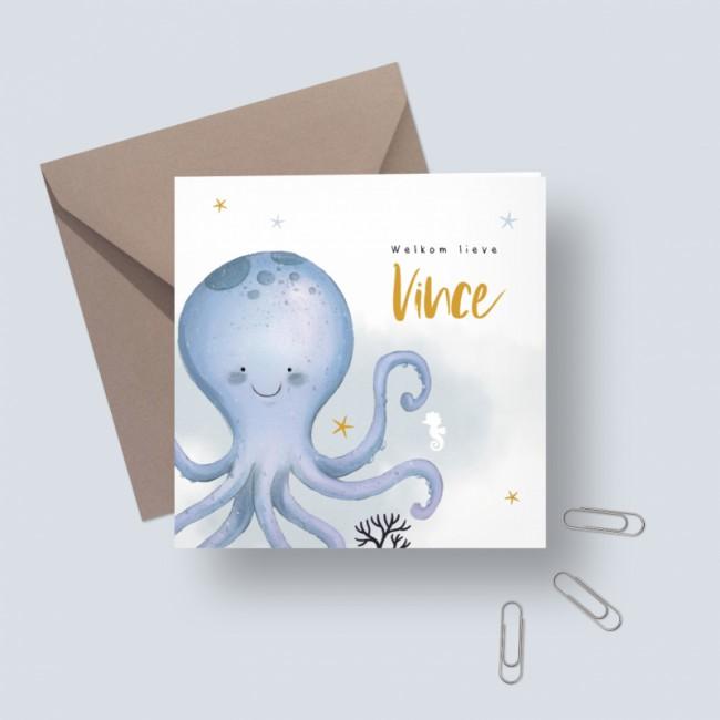 Geboortekaartje Blauwe octopus