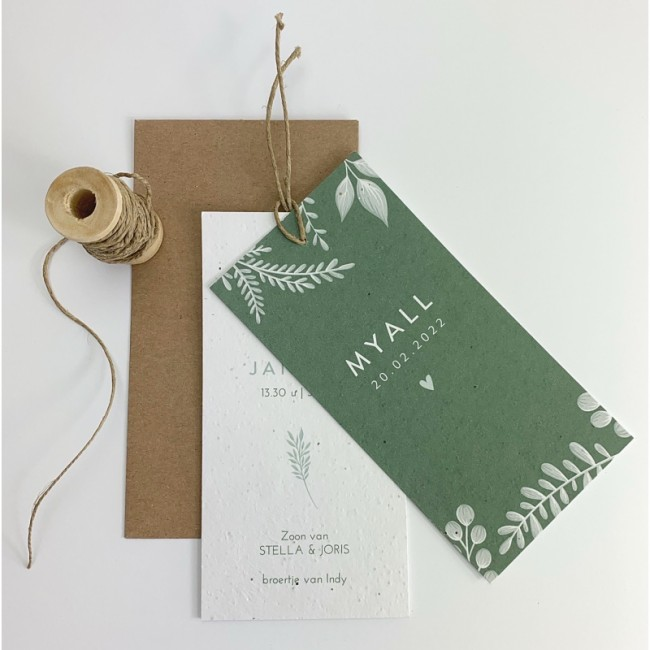 Geboortekaartje Bloeipapier Myall label