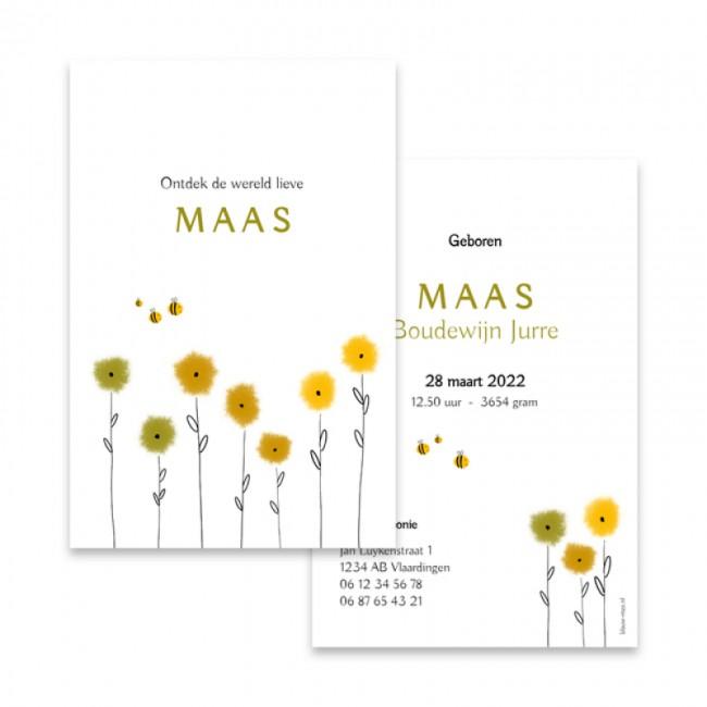 Geboortekaartje Bloemen en bijtjes