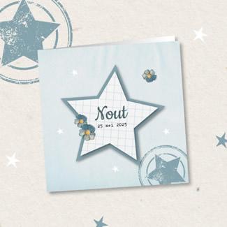 Geboortekaartje Bloemen, ruitjes en ster
