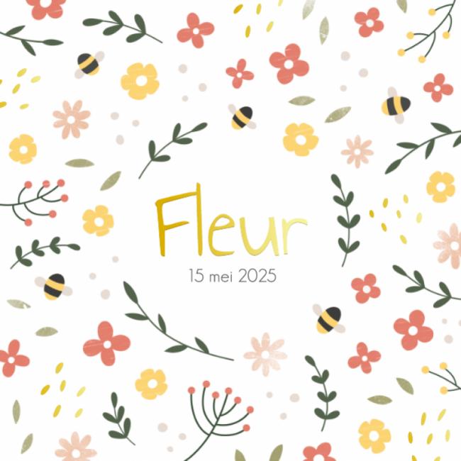 Geboortekaartje Bloemen, takjes en bijtjes
