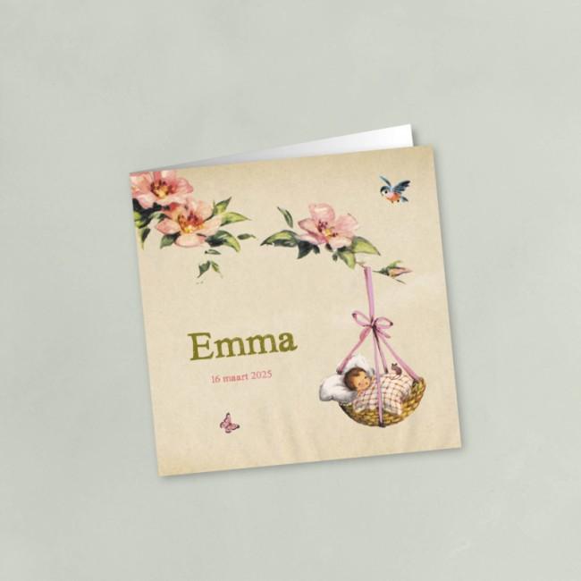 Geboortekaartje Bloesem met roze wiegje