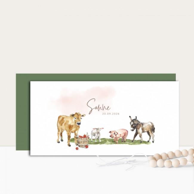 Geboortekaartje Boerderijdieren meisje