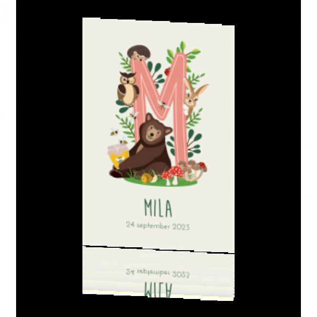 Geboortekaartje Bosdieren met Letter