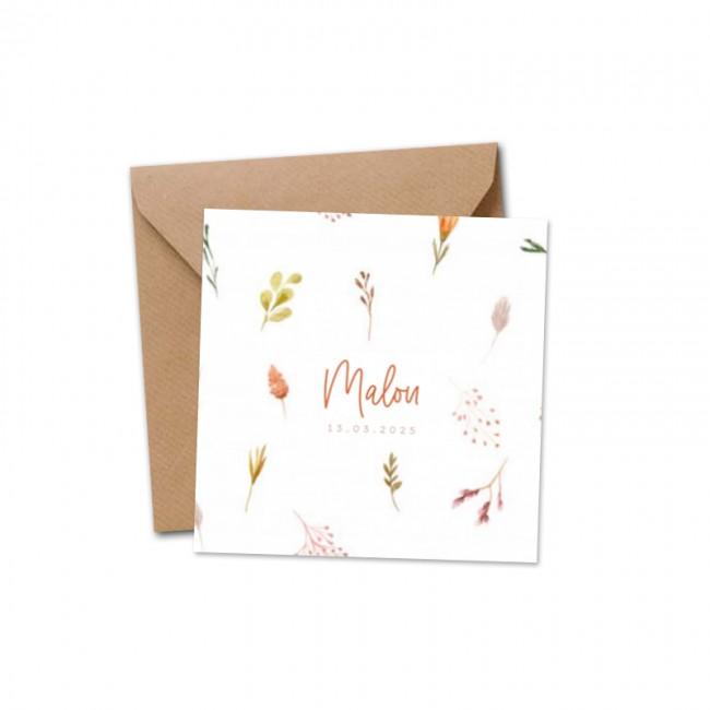 Geboortekaartje Botanisch droogbloemen