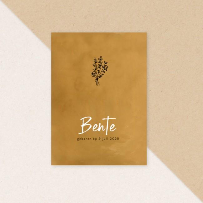 Geboortekaartje Botanisch en okergeel