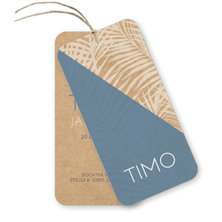 Geboortekaartje Botanisch kraft label Timo
