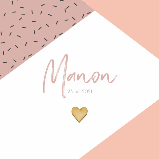 Geboortekaartje Confetti en houten hart