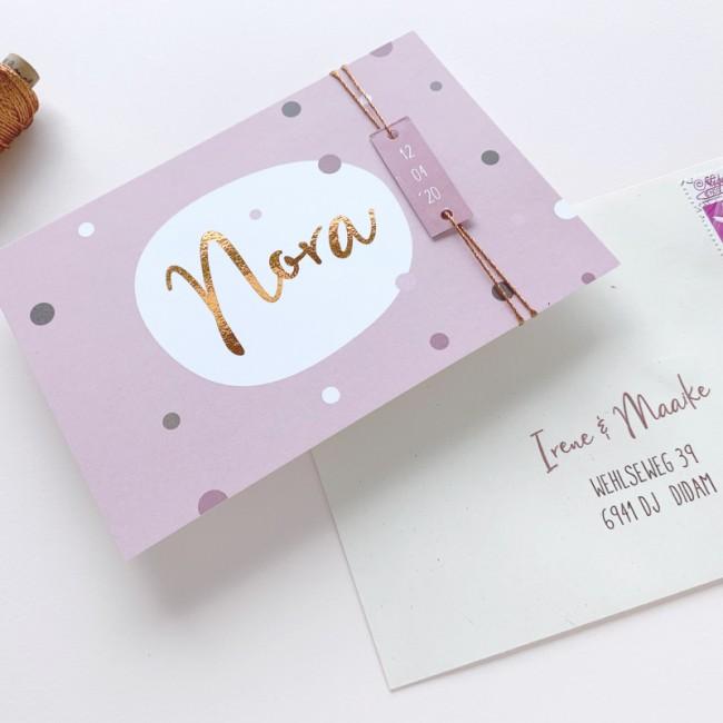 Geboortekaartje confetti met koperfolie