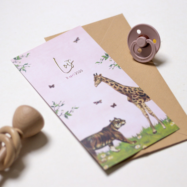 Geboortekaartje Dieren in jungle