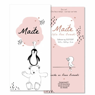 Geboortekaartje Dierentoren zwart wit roze