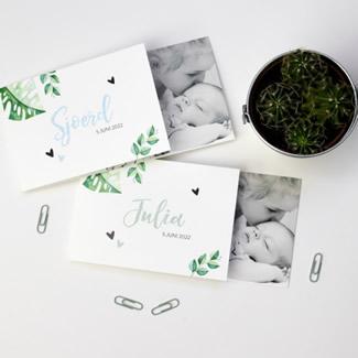 Geboortekaartje DIY met bladeren