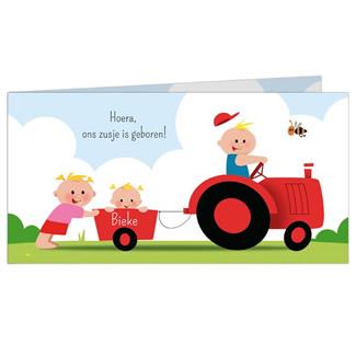 Geboortekaartje Drie kinderen en tractor