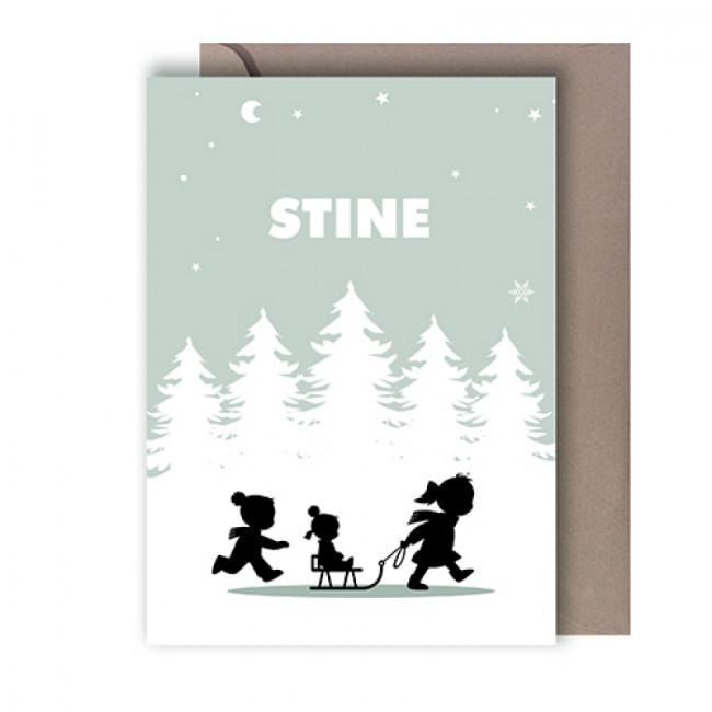 Geboortekaartje drie kinderen in sneeuw