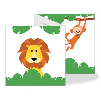 Geboortekaartje Drieluik jungle