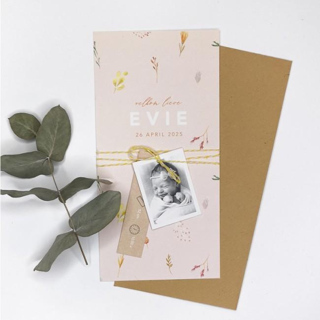 Geboortekaartje Droogbloemen en DIY labels