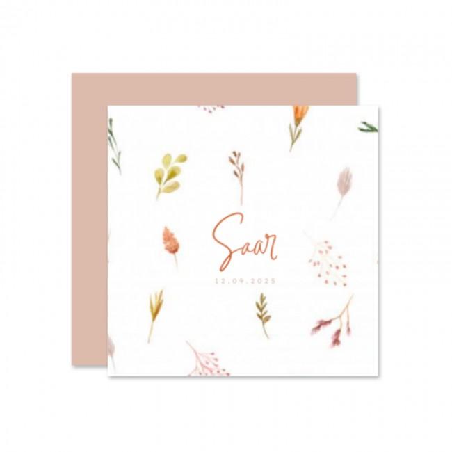 Geboortekaartje Droogbloemen kaartje