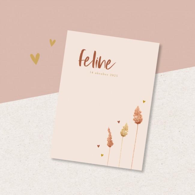 Geboortekaartje Droogbloemen met hartjes