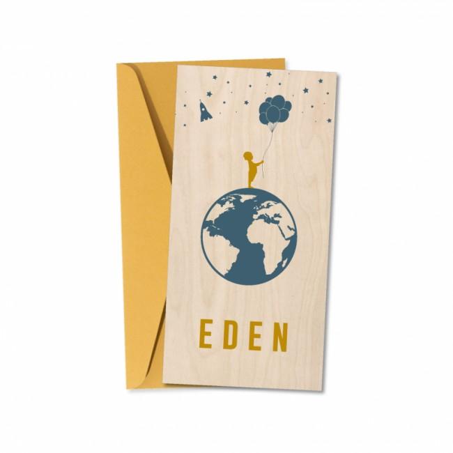 Geboortekaartje Echt hout Eden
