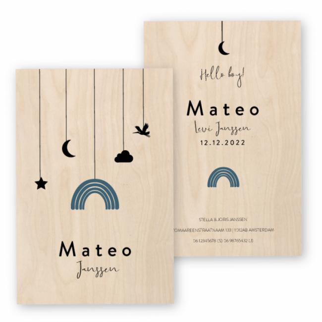 Geboortekaartje Echt hout Mateo