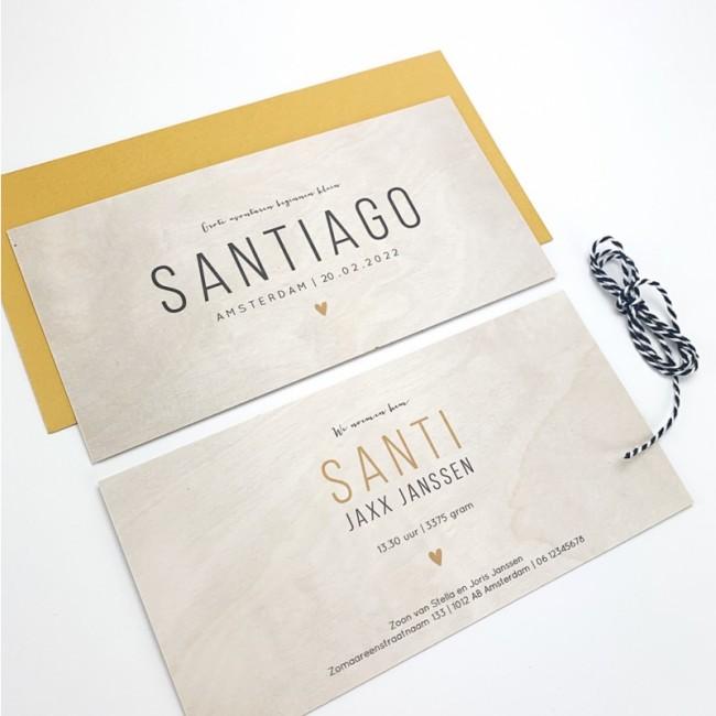 Geboortekaartje Echt hout Santiago