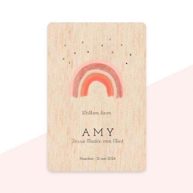 Geboortekaartje Echt houten kaartje