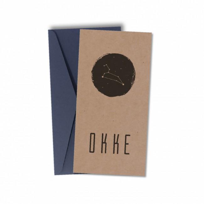 Geboortekaartje Écht kraft karton Okke