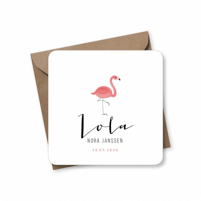 Geboortekaartje Flamingo Lola