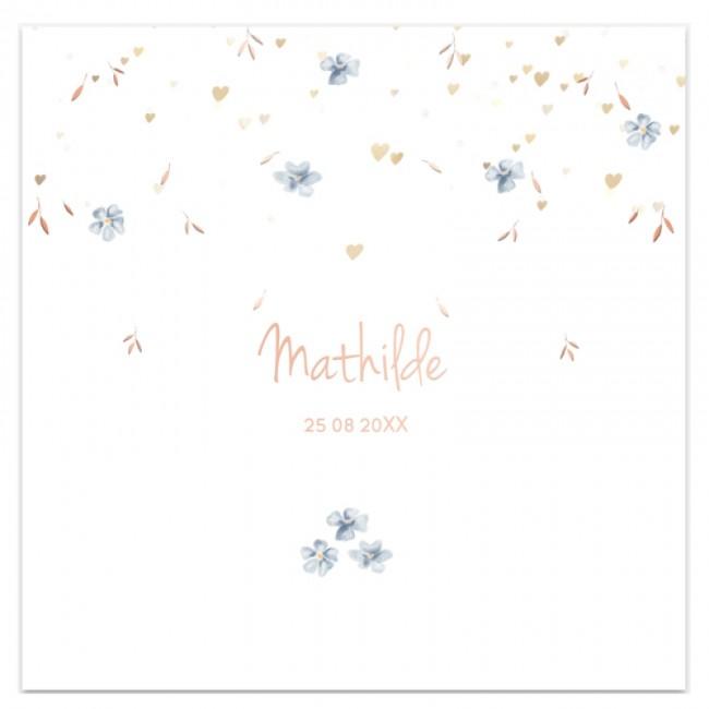Geboortekaartje folie bloemen & pastels