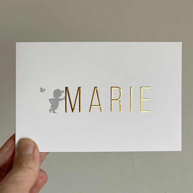 Geboortekaartje folie silhouet typografie