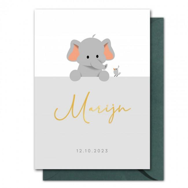 Geboortekaartje foliedruk olifant