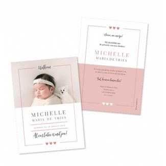 Geboortekaartje Foto en een roze kader