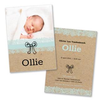Geboortekaartje Foto en strikje