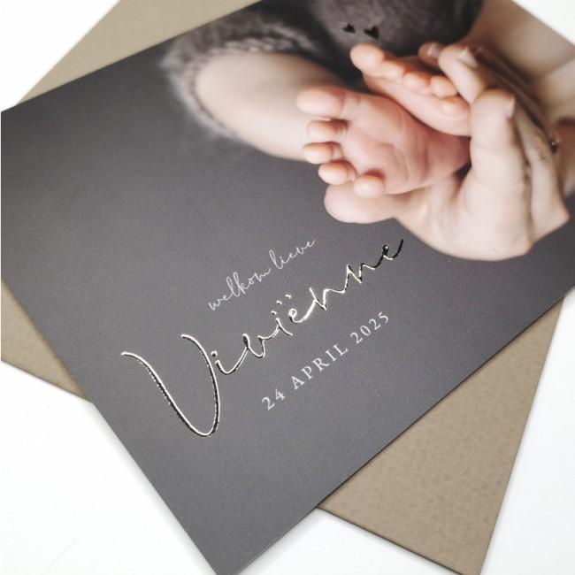 Geboortekaartje Foto met naam goudfolie