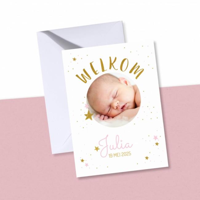 Geboortekaartje Foto met roze sterren