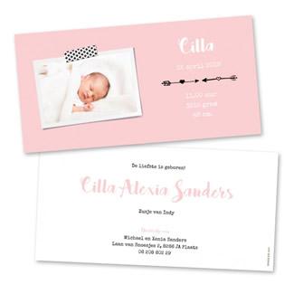 Geboortekaartje Foto op roze