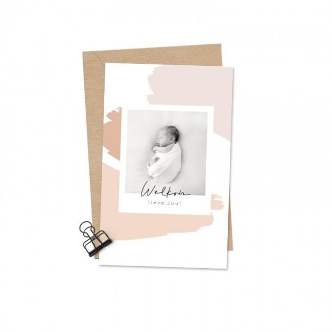 Geboortekaartje Foto roze brushes